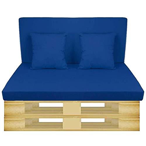 Gbla Colchon y Respaldo de Espuma para Sofá de Palet Enfundado en Tejido - Ideal para Jardín, Terraza, Patio,Salón y Balcón (Azul)