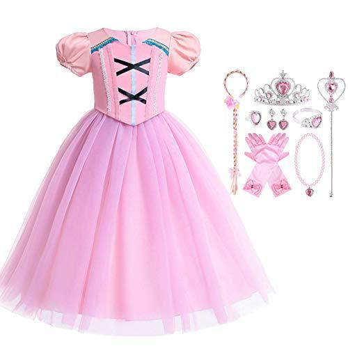 O.AMBW Vestido de Princesa para niña Bella Durmiente Disfraz de Princesa Aurora Disfraz de Tul Rosa Vestido de Fiesta de Halloween cumpleaños Cosplay Disfraz Corona Varita Peluca Collar Pendientes