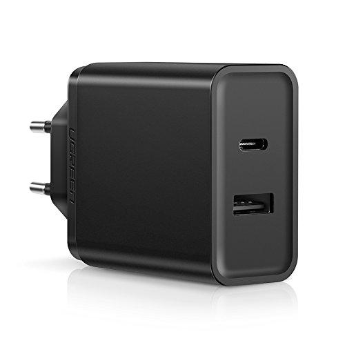 UGREEN Cargador Rápido USB Tipo C 18W con Un Puerto 5V 2.4A y Power Delivery 2.0 Compatible con QC 3.0/QC 2.0 para Macbook Pro, Huawei Matebook X Pro, Google Pixel 2 XL, Samsung S10, Huawei P30, Más