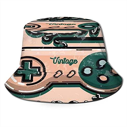 Bucket Hats Controlador de Videojuego Vintage con Cyber Sport Quote Diseño Retro de los años Noventa Sombreros de Pescador con Parte Superior Plana para protección UV