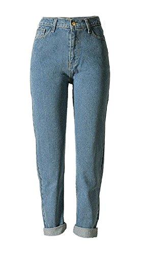 Sorrica Women's Jeans Stretch Straight-Leg Boyfriend Denim Pants (US 12, Light Blue)