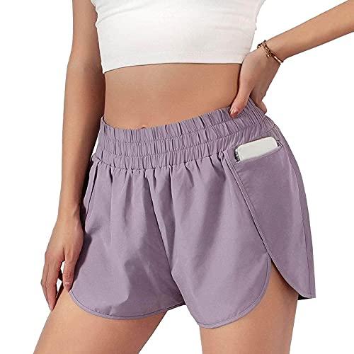 N /C Pantalones cortos deportivos para mujer, de verano, de cintura alta, pantalones cortos de yoga con bolsillo, Morado (, L