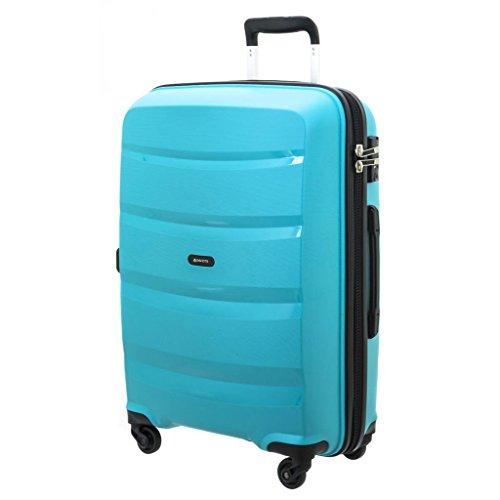 Shell polypropylene trolley suitcase 'Davidt's'turquoise - 66x45x26 cm (25.98''x17.72''x10.24'').