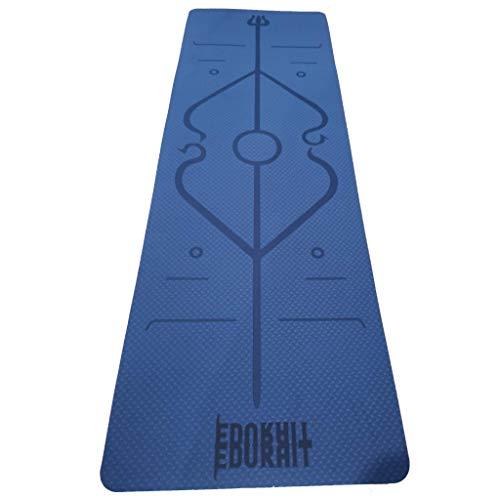 Esterilla Yoga Doble Color Antideslizante con TPE, Colchoneta Gimnasia, Fitness, Pilates, con Línea de Cuerpo, Transpirable y Resistente al Desgarro. 183 * 61 * 6 mm. (Azul)