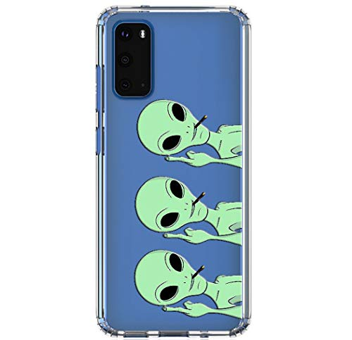 HUIYCUU Compatible with Galaxy S20 Case 6.2', Shockproof Anti-Slip Cute Green Animal Print Clear Design Pattern Funny Slim Crystal Soft Bumper Girl Women Cover Case for Samsung Galaxy S20, Aliens