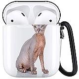 CIKYOWAY Funda Protectora para Airpods, Raza Sphynx Bald Cat Sphinx Naked...