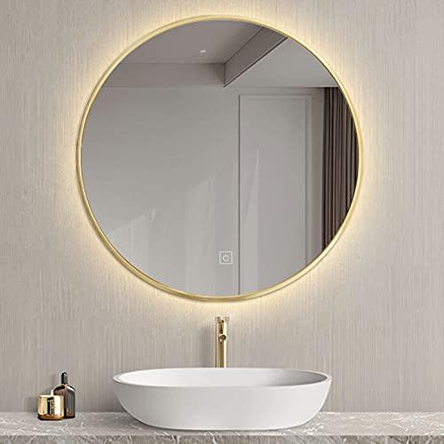 Espejo de Baño LED Redondo, con Marco Negro/Dorado, Espejo de Pared LED, con Iluminación Espejo de Maquillaje Ø50/60/70cm (Dorado)