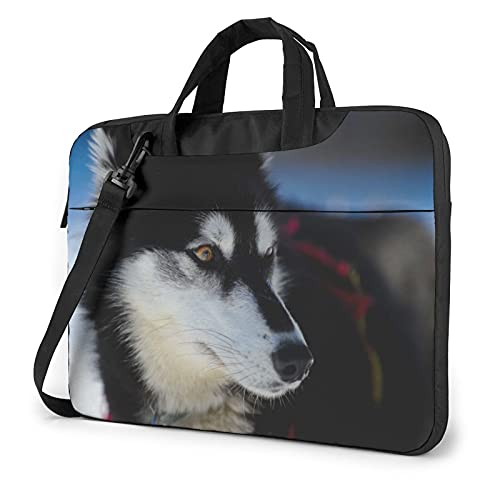 Laptop Sleeve Bag Husky Dog Hazy Background Tablet Briefcase Ultraportable Protective Canvas for 13 inch MacBook Pro/MacBook Air/Notebook Computer