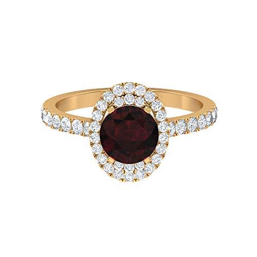 Anillo solitario de granate de 7 mm, anillo de halo de diamante HI-SI con piedras laterales, anillo vintage de oro (calidad AAA), 14K Oro amarillo, Size:EU 58