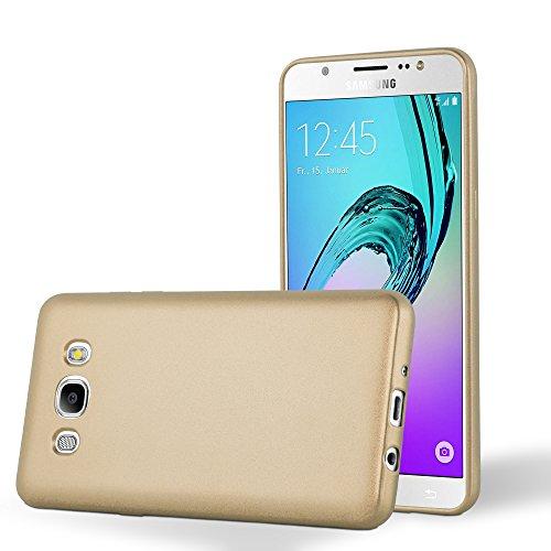 Cadorabo Funda para Samsung Galaxy J7 2016 en Metallic Oro - Cubierta Proteccíon de Silicona TPU Delgada e Flexible con Antichoque - Gel Case Cover Carcasa Ligera