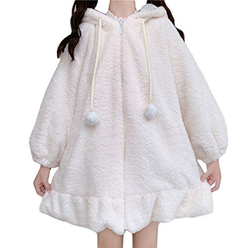 Süße warme Mäntel für Mädchen, japanischer Stil, Kawaii-Hasenohren, Lammwolle, lockerer Kapuzenpullover, Oberteil mit Reißverschluss Gr. One size, weiß