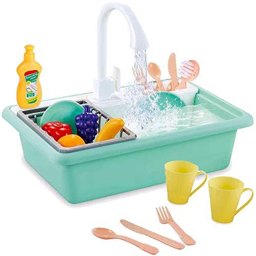 Liberty Imports - Juego de fregadero de cocina de juguete con agua corriente. Lavavajillas eléctrica con llave que funciona,...