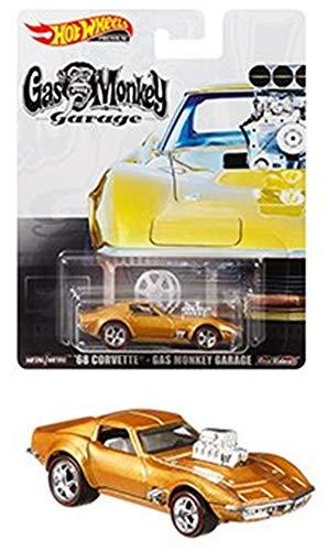 Hot Wheels 2019 Retro Entertainment Series Gold '68 Chevy Corvette Gas Monkey Garage 1:64 Scale Collectible Die Cast Metal Toy Car Model