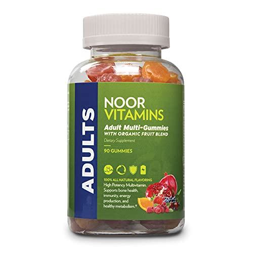 NoorVitamins Adult Multivitamin Gummy with Organic Fruit Blend for Men and Women; NON-GMO, Gluten Free, Vegan Friendly. Halal Vitamins - 90 Count