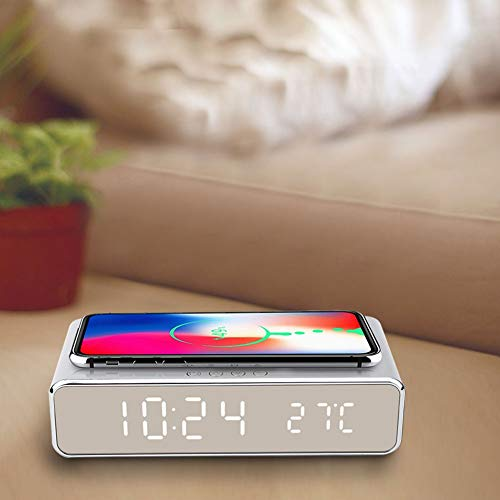 Snufeve6 Reloj Despertador Digital, Esencial, Reloj con Cargador inalámbrico, Compacto, portátil, para Oficina, hogar,