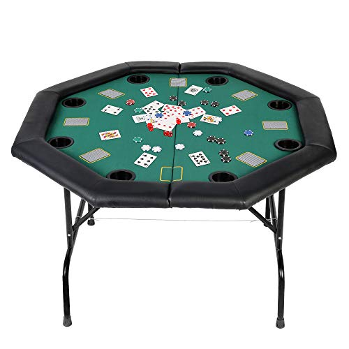 Vilobos Folding Poker Table, Texas Holdem Poker Table with Felt Poker Table Top and Removable Cup Holder