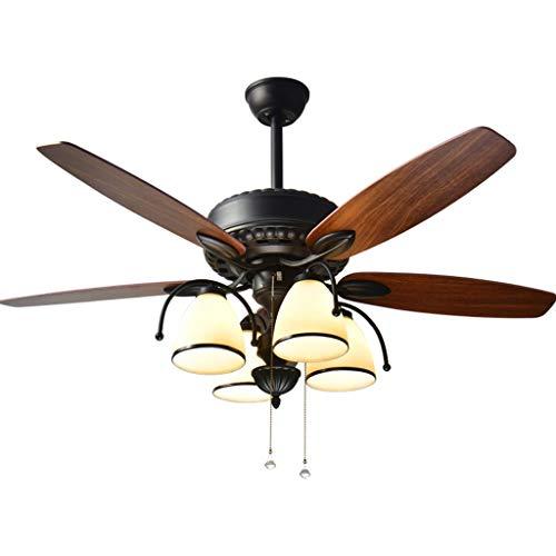 Ventilador de techo americano, ventilador con luz eléctrica del ventilador de 4 cristal, interruptor de tirador de salón gran viento, lámpara de 52 pulgadas