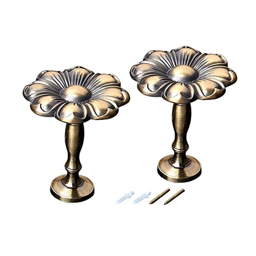 CHICTIE Vintage Medallion Holdbacks for Drapery Zinc Alloy Metal Wall Hooks European Style Hanger Pack of 2 (Bronze)