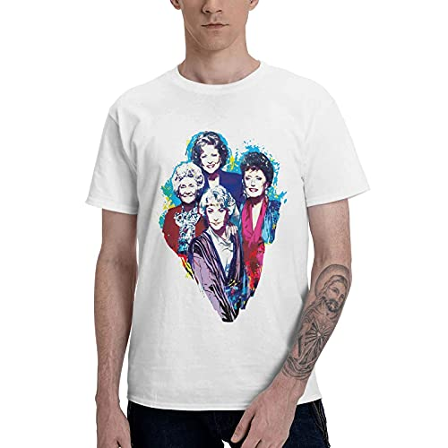 COOTHING Golden Girls Man Leisure Casual Printed Basic Light Weight White Tee Clothes