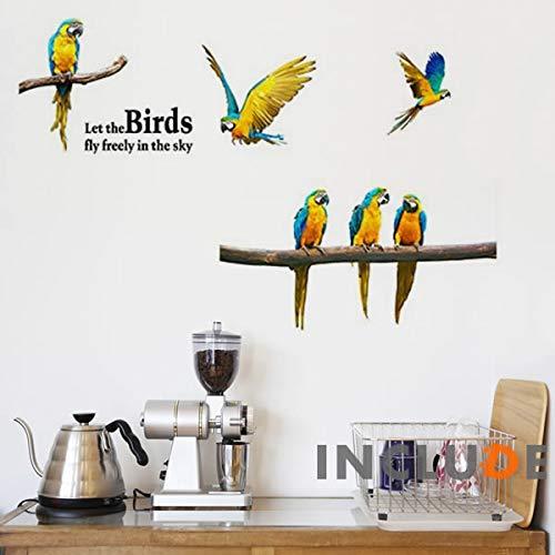 ウォールステッカー コンパニオンバード 南国の鳥 南国 オウム とり 模様 柄物 透明感 ヨウム ウェルカムボード 癒し ヒール 鳥とのふれあい 透明感 癒しの部屋