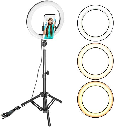 DEALBOX 10' Ring Light with 1.6 Meter Extendable Tripod Stand & Phone Holder for YouTube Video, Tiktok, Dimmable Led Ring Light for Camera, Video, Makeup, Selfie Photography Compatible with Smartphone