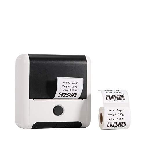 Etikettendrucker - Bluetooth Thermoetikettendrucker Handy Drahtloser Etikettendrucker für Zuhause, Kleine Unternehmen, Einzelhandel Etiketten, Versand und mehr, für Android und iOS System - Weiß