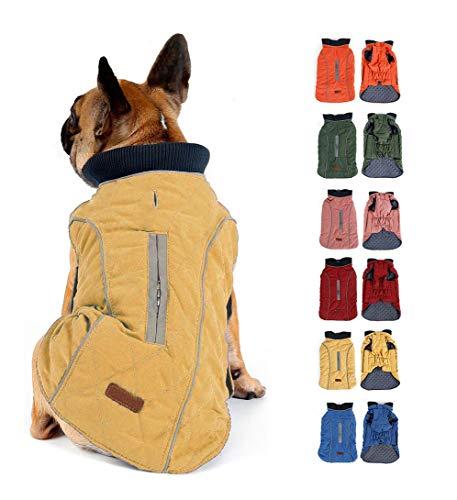 Komate Abrigo de Invierno para Perros Chaleco cálido con Vestido de Rayas Reflectantes para Perros pequeños medianos Grandes (XL (Cofre: 62-70 cm), Amarillo)