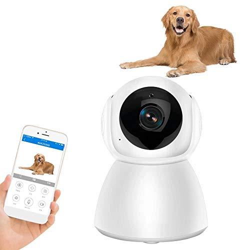 Hundekamera Überwachungskamera 1080P Haustier WLAN-Kamera kabellose Innen-Schwenk- / Neige- / Zoom-Heimkamera Babyphone IP-Kamera mit Bewegungserkennung Zwei-Wege-Audio, Nachtsicht (32G-Speicher)