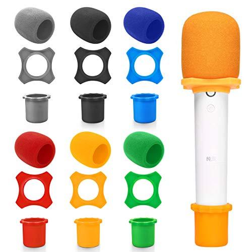 MHwan Microfoni Spugna Covers, Parabrezza per microfono, Schiuma per microfono ad alta densità con anello per microfono antirotolamento e custodia inferiore per Meeting Studio Karaoke, 18 pezzi