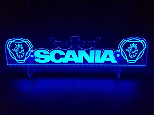 Other 24?V LED Light Neon Plaque pour Camion Scania Trucker Bleu Illuminant Sign Table Couronne Cabine D?coration Accessoires Grav? au Laser 24?V/5?W