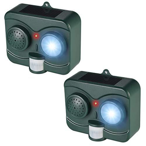 Ahuyentador Animal Ultrasónico Al Aire Libre, Solar Accionado Impermeable LED Intermitente Luz PIR Sensor De Movimiento Imitación De Sonido para Aves Murciélago Ahuyentador Ultrasónico,2pack