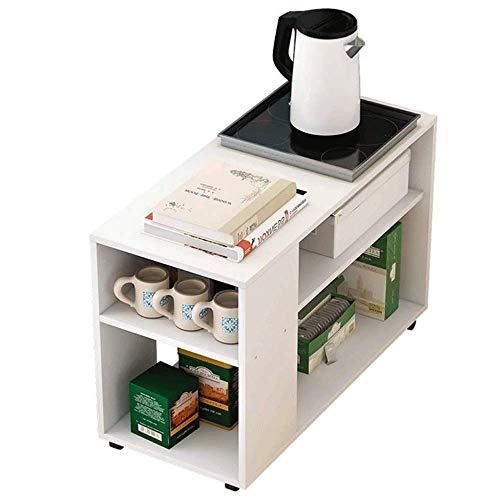 Mesa de mesita moderna minimalista Mesa lateral de mesa lateral Tabla de café Mesa de lámpara de mesa con estantes de almacenamiento, librero de 2 niveles, mesa de café pequeña extraíble con ruedas Mo