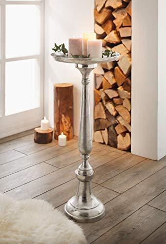 Dekosäule Silber aus Metall, 78cm hoch, Antik Look, XXL Kerzenständer, Blumenständer, Podest, Sockel