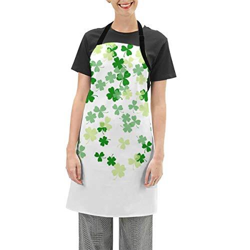 GuoJJ Delantal, diseo de trbol, fondo verde, ajustable, resistente a las gotas de agua, delantal de cocina, delantal para mujeres y hombres