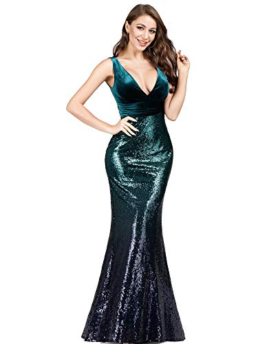 Double V-Neck Sequins Patchwork Mermaid Dress