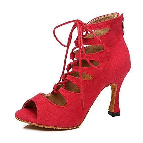 TINRYMX Botas de Baile Latino Mujer Tacon Alto Bachata Vals Flamenco Fiesta Zapatos de Baile Salsa, EU 38.5