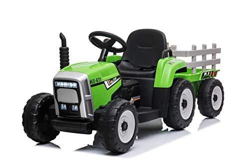 Mondial Toys Trattore Elettrico 12V 7AH CAVALCABILE per Bambini con RIMORCHIO Telecomando Verde