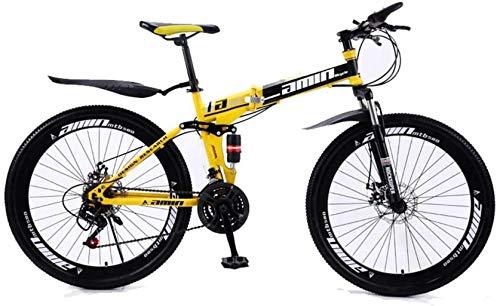 Best Buy! HongLianRiven BMX Mountain Bike Folding Bikes, 26Inch 24-Speed Double Disc Brake Full Susp...