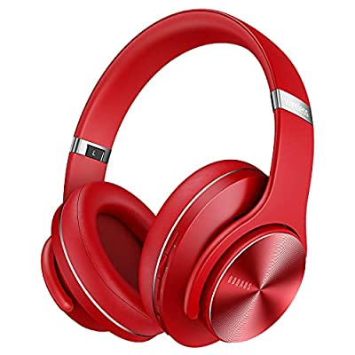DOQAUS Wireless Headphones Over Ear, 52 Hrs Playtime Bluetooth Headphones with 3 EQ Modes, Soft Memory Protein Earpads, Foldable Wireless Headphones with Mic for Home Office Cellphone PC Tablet (Red) from Doqaus