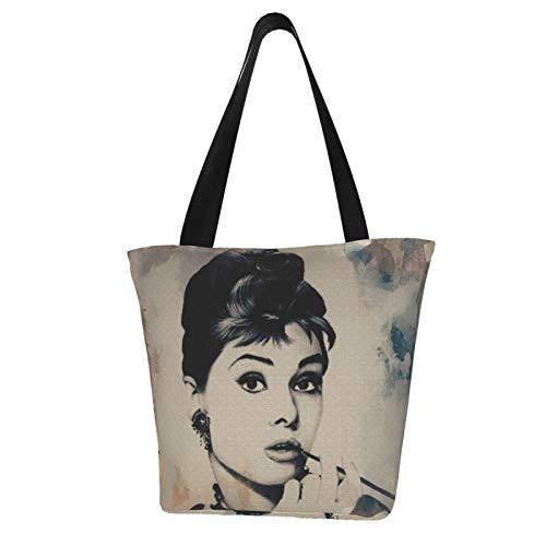 Audrey Hepburn Damen Multifunktions Große Kapazität Schultertasche Einkaufstasche mit Reißverschluss Handtasche Strandtasche Laptoptasche Tablet Tasche