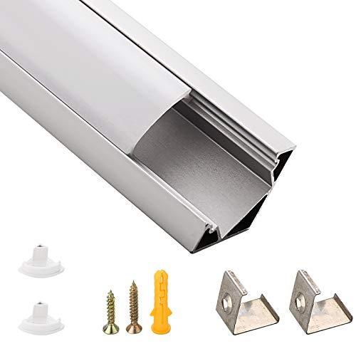 SWAWIS LED Aluminium Profil, Led Kanal 45 Grad 6 Pack 1m für LED Strip und LED Leiste Breite 12.3mm, inkl Mit Endkappe und Befestigungsclip Geeignet für Drinnen und Draußen