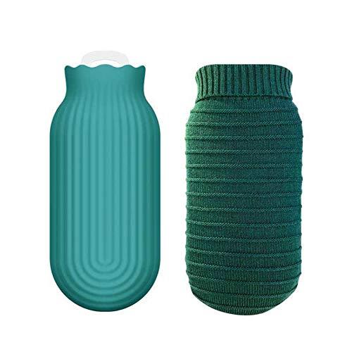 Botella de agua caliente de silicona para calentar el microondas con cubierta de punto, terapias calientes y frías, dolor de espalda, regalo para padres, Navidad