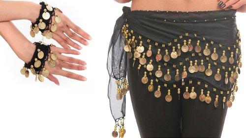 Belly Dance Bauchtanz Kostüm Hüfttuch inkl. ein Paar Handketten Münzgürtel Fasching Karneval Tanzaufführung Gürtel in schwarz NEU /Marke PRECORN