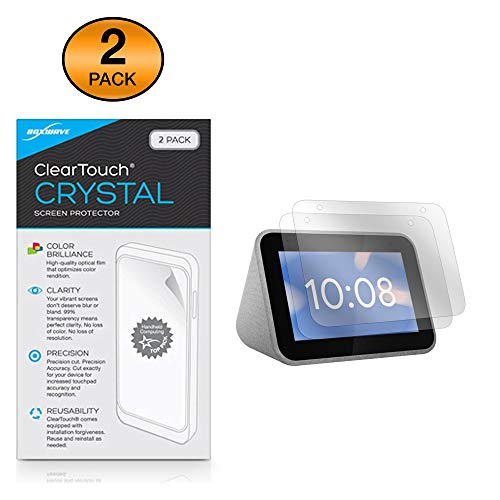 Lenovo Smart Clock Screen Protector, BoxWave [ClearTouch Crystal (2-Pack)] HD Film Skin - Shields from Scratches for Lenovo Smart Clock