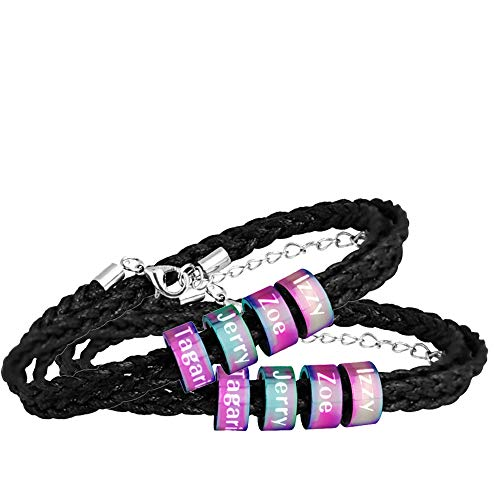 WDDAM Personalized Bracelets Leather Mens Black Braided Leather Bracelets with 2-5 Names Engraved in Custom Beads Stainless Steel Couples Bracelets