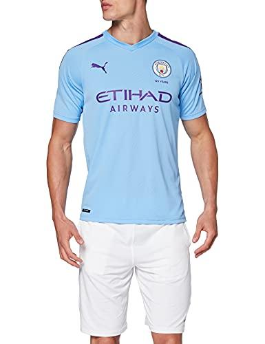 PUMA MCFC Home Shirt Replica Top1 Player Maillot, Hombre, Team Light Blue-Tillandsia Purple, M