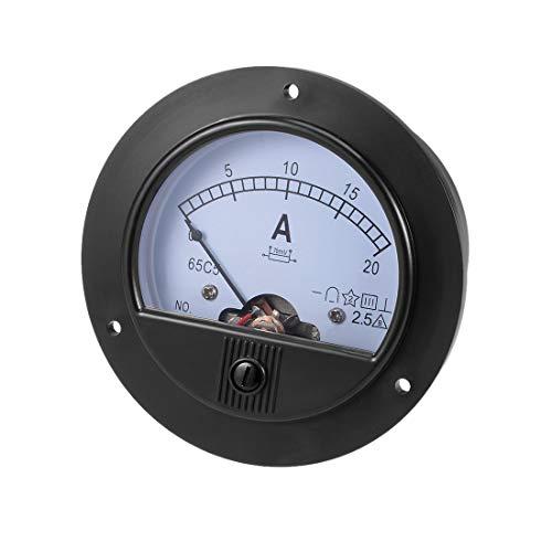 sourcingmap Analoges Strompanel-Messgerät, DC 0–20 A, 65 C5, Amperemeter für Auto-Schaltkreise, Ladebatterie, Ampere-Tester, 1 Stück