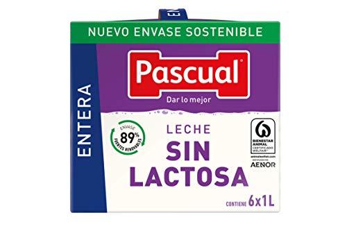 Pascual Leche Sin Lactosa Entera - Paquete de 6 x 1 l - Total: 6 l