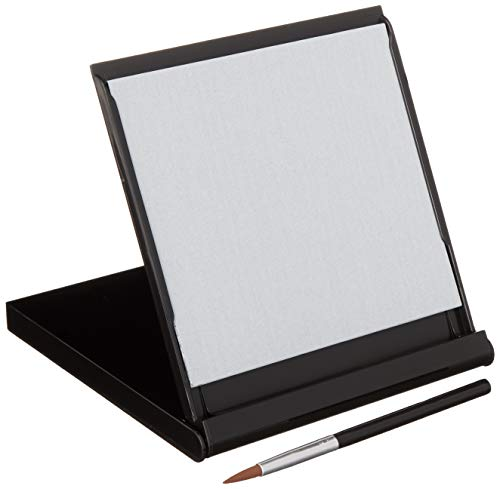 5 x 5 Simply draw on the surface with water. The water evaporates leaving you with a clean slate, ready to create all over again! Will last for years and is environmentally friendly Small brush included Inside section to write a message