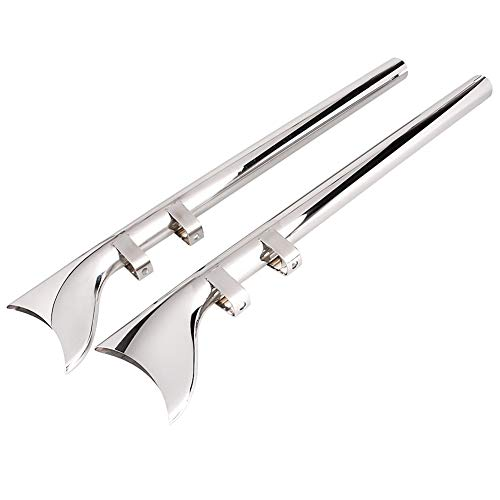 "Three T 33 Inch Chrome 1-7/8"" Mufflers Exhaust Fishtail Drag Pipe Slip On for Harley Davidson Touring Model 1995-2016"